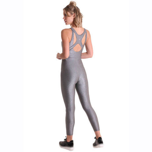 Liquido Fashion Sportkleding Graphic Bodysuit Metallic Silver jumpsuit catsuit unitard