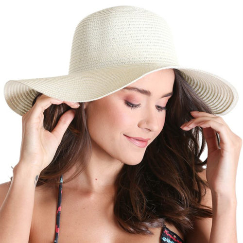 Liquido Fashion Summer Hat Off-White hoed zomerhoed brede rand ecru