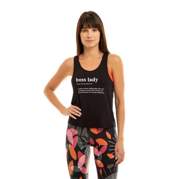 Liquido Fashion Basic Tank Black Boss Lady yogashirt sportshirt