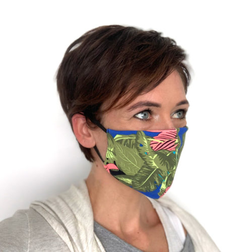 Liquido Fashion reversable facemask mondmasker Leaves herbruikbaar wasbaar