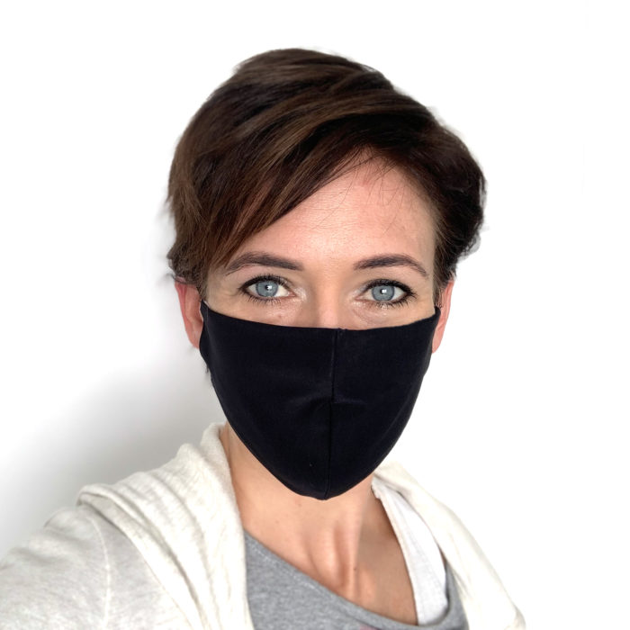 Liquido Fashion reversable facemask mondmasker black zwart herbruikbaar wasbaar