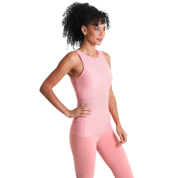 Liquido Fashion Keyhole Tank Wild Lace Pink sporttop yogatop
