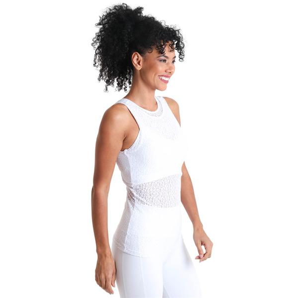 Liquido Fashion Keyhole Tank Wild Lace White sporttop yogatop
