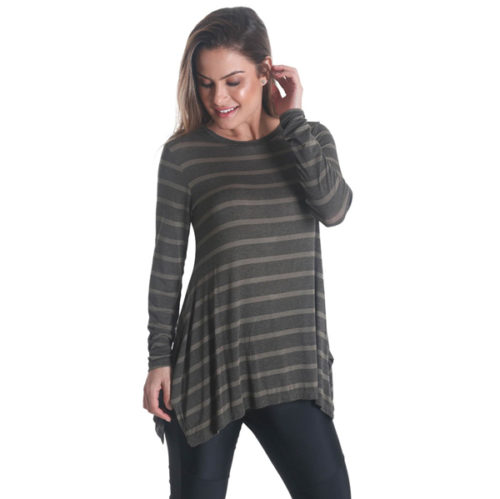 Liquido Fashion Stripes Longsleeve Olive yogashirt