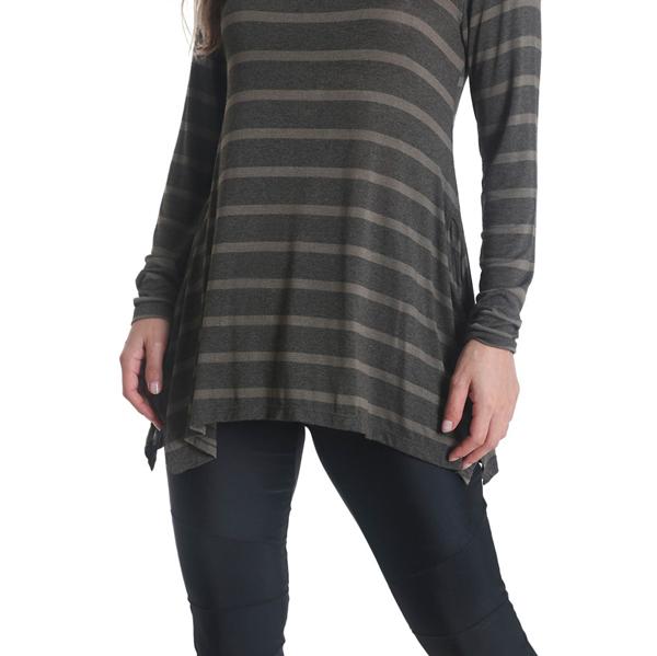 Liquido Fashion Stripes Longsleeve Olive yogashirt