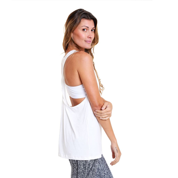 Liquido Benelux Twist Tank White - But First... Yoga! Yogashirt
